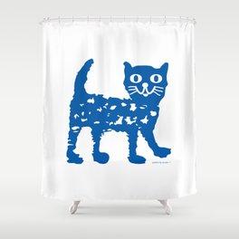 Navy blue cat pattern Shower Curtain