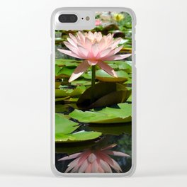 Pink Water Lilies Clear iPhone Case