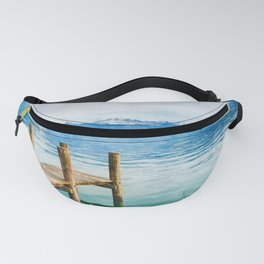 Pier on the lake watercolor painting  Fanny Pack
