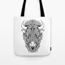 BISON head. psychedelic / zentangle style Tote Bag