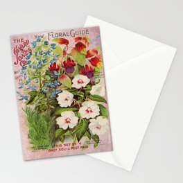 Vintage Flowers Advertisement Collage Stationery Cards