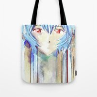 evangelion Tote Bags featuring Rei Ayanami from Evangelion Digital Mixed Media by Barrett Biggers
