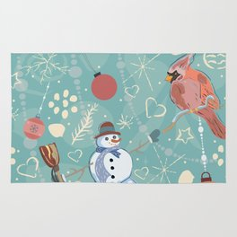 Seamless Winter Pattern with Christmas Ornaments Rug