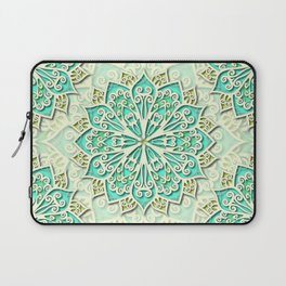 White cyan and yellow Beautiful Wedding Mandala Laptop Sleeve