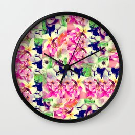 Abstract Pink Floral With a Cat Wall Clock