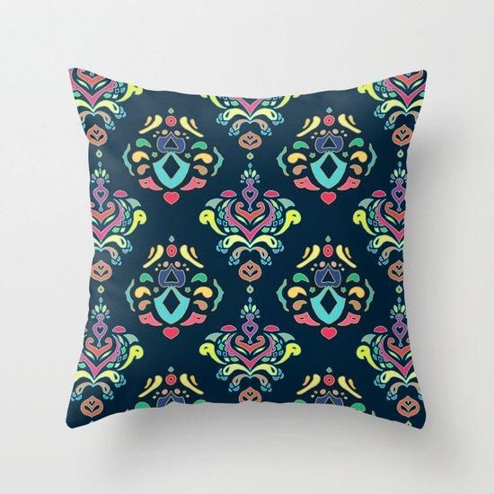 Doodle Damask  Throw Pillow