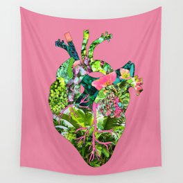 Botanical Heart Pink Wall Tapestry