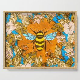 Bumblebee In Wild Rose Wreath Serving Tray