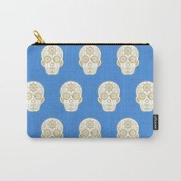 Día de Muertos • Mexican Sugar Skull – Blue & Gold Palette Carry-All Pouch