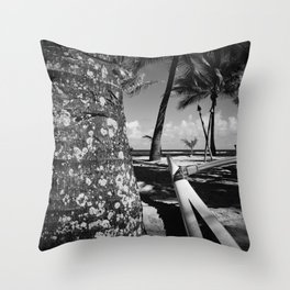 Kuau Beach Palm Trees and Hawaiian Outrigger Canoe Paia Maui Hawaii Throw Pillow