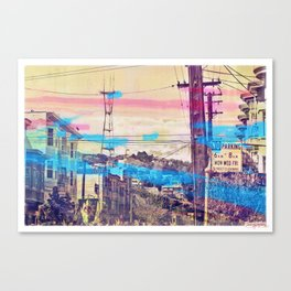 San Fran-See-Peaks - Sutro tower on Stereoid in the mission district, San Francisco Canvas Print
