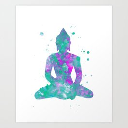 Buddha Watercolor Painting Aqua Fuchsia Art Print
