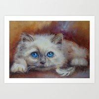 kitten Art Prints featuring KITTEN by Canisart