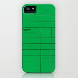 Library Card BSS 28 Green iPhone Case