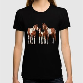 Chestnut Pinto Paint Horses In Snow T-shirt