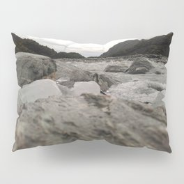 franz josef glacier in new zealand river with ice cubes rough cold Pillow Sham