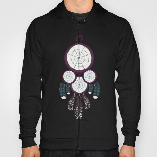 Purple Dream catcher with Blue and Purple Feathers Hoody