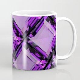 SQUARE CUT PURPLE FEBRUARY AMETHYST GEMS DIAGONAL PATTERN Coffee Mug
