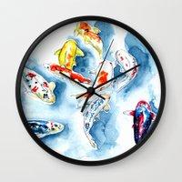koi Wall Clocks featuring Koi  by Bridget Davidson