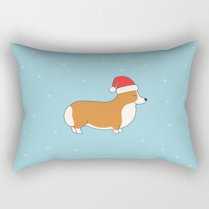 Santa Corgi Rectangular Pillow