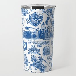 "Zelda ""Hero of Time"" Toile Pattern - Zora's Sapphire Travel Mug"
