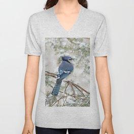 Snow Jay: American Blue Jay Unisex V-Neck