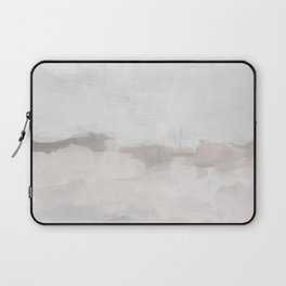 Neutral White Beige Gray Sandy Beach Ocean Gray Clouds Abstract Nature Painting Art Print Wall Decor  Laptop Sleeve