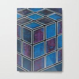 Purple Blue Cube Metal Print