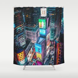 Times Square Nighttime Landscape Painting by Jeanpaul Ferro Shower Curtain