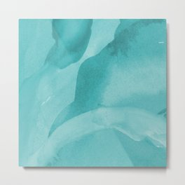 Turquoise abstract waves Metal Print