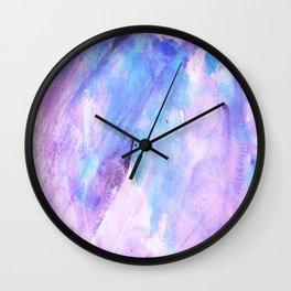 Pastel pink lilac teal modern watercolor brushstrokes Wall Clock