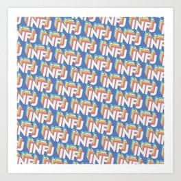 INFJ Trendy Rainbow Text Pattern (Blue) Art Print