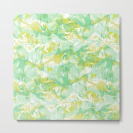 Marble Mist Green Lime Metal Print