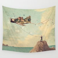 city Wall Tapestries featuring City Kite Afternoon by Paula Belle Flores