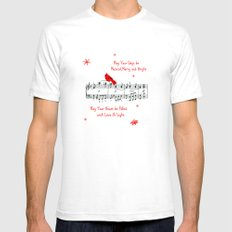 Merry Music and Red Bird Mens Fitted Tee White SMALL