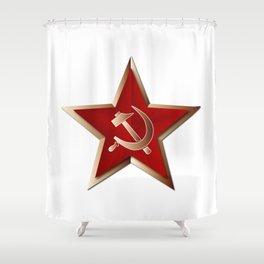 Soviet Badge Insigni Shower Curtain