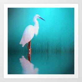 Egret in teal Art Print