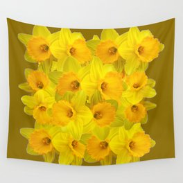Olive Colored Golden Daffodile Floral Abundance Wall Tapestry