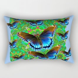 EXOTIC BLUE-BROWN BUTTERFLY ART Rectangular Pillow