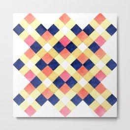 Colorful pink yellow navy blue watercolor geometrical pattern Metal Print