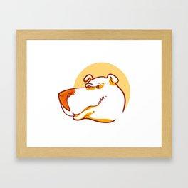 angry dog face funny cartoon Framed Art Print
