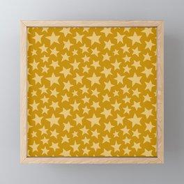 Mustard Doodle Stars Framed Mini Art Print