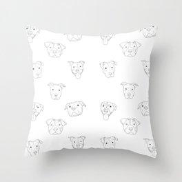 White pit bull love Throw Pillow
