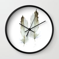 feathers Wall Clocks featuring  feathers by annemiek groenhout