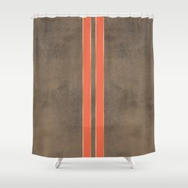 Vintage Hipster Retro Design - Brown Leather with Gold and Orange Stripes Shower Curtain