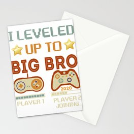 I Leveled Up To Big Bro 2020-Gamer Promoted To Big Brother T-Shirt Stationery Cards