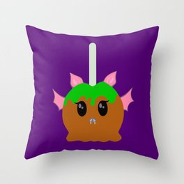"""Batty Apple"" - caramel apple bat - GREAT CHRISTMAS GIFT! Throw Pillow"