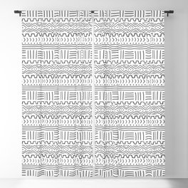 Mud Cloth on White Blackout Curtain