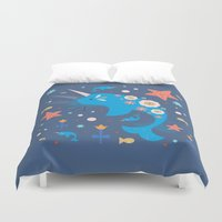 narwhal Duvet Covers featuring Narwhal & Babies  by Carly Watts