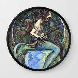 """Under the Sea - A Mermaid"", by Fanitsa Petrou Wall Clock"